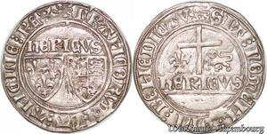 S6855 Rare Henri VI Angletee 1422-1453 Blanc écus 1422 Rouen Argent Silver SUP