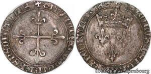 S6861 Rare Charles VII gros Roi 1re émission Lyon Argent Silver superbe
