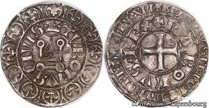 S6868 Rare Charles V 1364-1380 Gros tournois 2ème émission SUP Argent