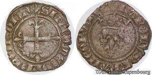S6876 Charles VI Bien-Aimé 1380-1422 Gros Florette Paris mint Silver TTB