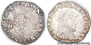 S6907 Rare Henri III teston 3e type 1576 L Bayonne Argent