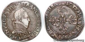 S6908 Rare Henri III Franc au col plat 1581 K Bordeaux Argent Silver