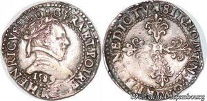 S6911 Rare Henri III demi-Francau col plat 1589 K Bordeaux Argent