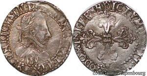 S6913 Henri III Quart de Francau col plat 1588 K Bordeaux Argent Silver