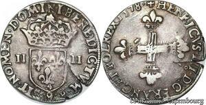 S6916 Henri III 1/4 Quart d'écu croix de face 1578 Rennes Argent Silver