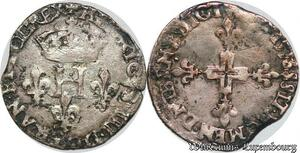 S6918 Henri III Double Sol Parisis 2e type 1586, MontpellI Argent Silver