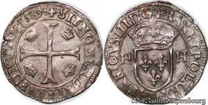 S6931 Rare Henri IV douzain aux 2 H 1er type, 1589 D Lyon superbe