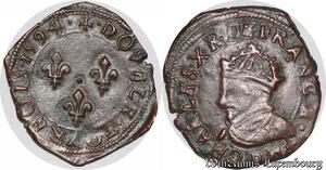 S6941 Charles X Cardinal of Bourbon Double tournois type de Dijon 1594