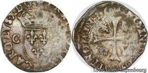 S6942 Charles X roi de la ligue Douzain aux 2C 1594 2ème type M Marseille