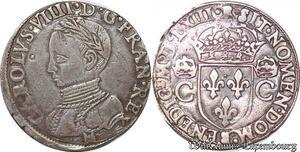 S6945 Rare Charles IX teston 2e type 1563 M Toulouse Argent