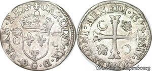 S6957 Rare Charles IX Douzain aux deux C couronnés 1573 G PoitIs Billon