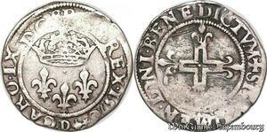 S6961 Charles IX double sol Parisis 1er type 1570 D Lyon Silver