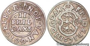 S6971 Danemark 2 Skilling Frederick III 1648 Silver ->Make offer