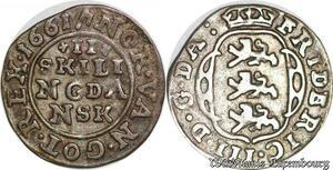 S6975 Danemark 2 Skilling Frederick III 1661 Silver ->Make offer