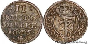 S6979 Danemark 2 Skilling Frederick III 1665 Silver ->Make offer
