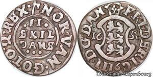 S6980 Danemark 2 Skilling Frederick III 1650 Silver ->Make offer