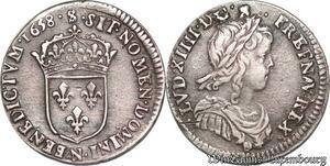 S6986 1/12 Ecu Louis XIV buste juvénile1658 N MontpellI Argent Quasi SUP