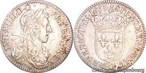 S6987 1/12 Ecu Louis XIV au buste juvénile1663 & Aix Argent Silver