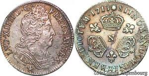 S6990 1/10 Ecu Louis XIV 3 couronnes 1713 N MontpellI Argent Silver TTB+