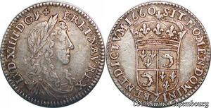 S6996 Rare 1/12 Douzième Ecu buste Louis XIV Dauphiné 1660 Z Grenoble Argent
