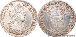 S7037 Rare 1/4 Ecu Louis XIV 1649 B Rouen Argent Silver ->Faire Offre