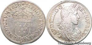 S7039 Rare 1/2 Ecu Louis XIV 1959 9 Rennes Argent Silver ->Faire Offre
