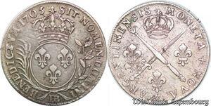 S7041 Louis XIV 1643-1715, 33 sols insignes palmes 1705 BB Strasbourg Argent