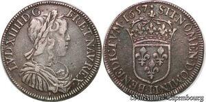 S7043 Rare 1/2 Ecu Louis XIV à la mèche longue 1657 I Limoges Argent Silver