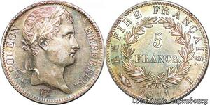 S7058 Rare 5 Francs Napoléon I 1811 I Limoges Argent Silver superbe Patine !