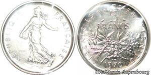 S7068 5 francs Semeuse 1970 essai FDC sous sachet Monnaie de Paris