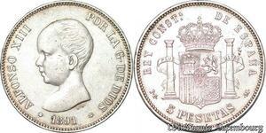 S7090 Espagne Spain 5 PesetaS Alfonso XIII 1891 PG M Argent