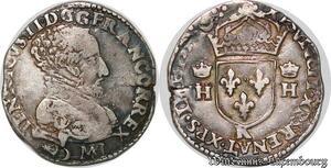 S7094 Rare Type ! Francois II teston Henri II 3e type 1559 K Bordeaux Argent