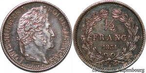 S7095 Rare 1/2 FrancLouis Philippe 1831 B Rouen Argent Silver SPL !