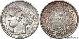 S7101 50 Centimes Ceres 1851 A Paris Argent Silver SUP