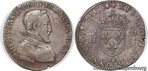 S7118 Henri II Teston à la tête nue 1er type 1555 G PoitIs Argent Silver