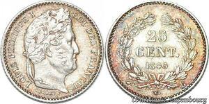 S7131 Rare 1/4 FrancLouis Philippe 1845 B Rouen Argent Silver ->Faire Offre