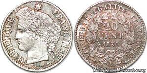 S7133 20 Centimes Ceres 1851 A Paris Oreille Basse Argent Silver ->Faire Offre