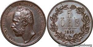 S7152 Sweden Suède Karl XV 5 Ore 1865 Uncirculated ->Make offer