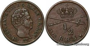 S7191 denmark 1/2 Rigsbankskilling 1842 Christian VIII Copper