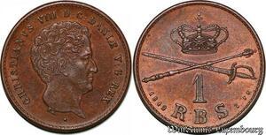S7196 denmark Rigsbankskilling 1842 Altona Danemark Christian VIII AU !