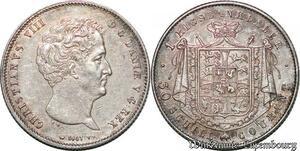 S7205 Rare Danemark Christian VIII Rigsbankdaler 30 Schilling 1847 Silver AU