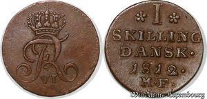 S7208 Danemark Christian VII 1 skilling 1812 MF - AU MS ! ->Make offer