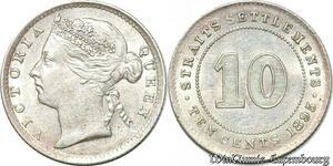 S7229 Asia 10 Cents Straits Settlements Victoria Silver 1895 Silver AU