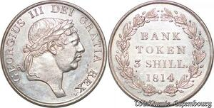 S7234 great Britain GB One Shilling Sixpence Bank Token 1814 Silver UNC !