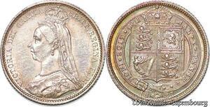 S7237 UK 6 Pence Six Victoria 1887 Silver AU ! MS
