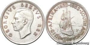 S7243 South Africa 5 Shillings 1952 Capetown Georgius Sextus Rex Silver