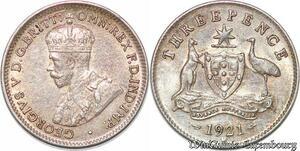 S7247 Australia 3 Pence 1921 M Melbourne AU UNC ! Silver ->Make offer
