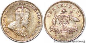 S7248 Rare Australia 3 Pence 1910 Edward VII UNC ! Silver ->Make offer