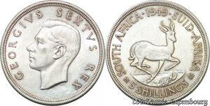 S7251 South Africa 5 Shillings 1949 Georgivs Sextvs Rex Silver ->Make offer