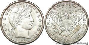 S7253 Scarce USA 50 Cents Barber Half Dollar 1906 Silver UNC ! ->Make offer